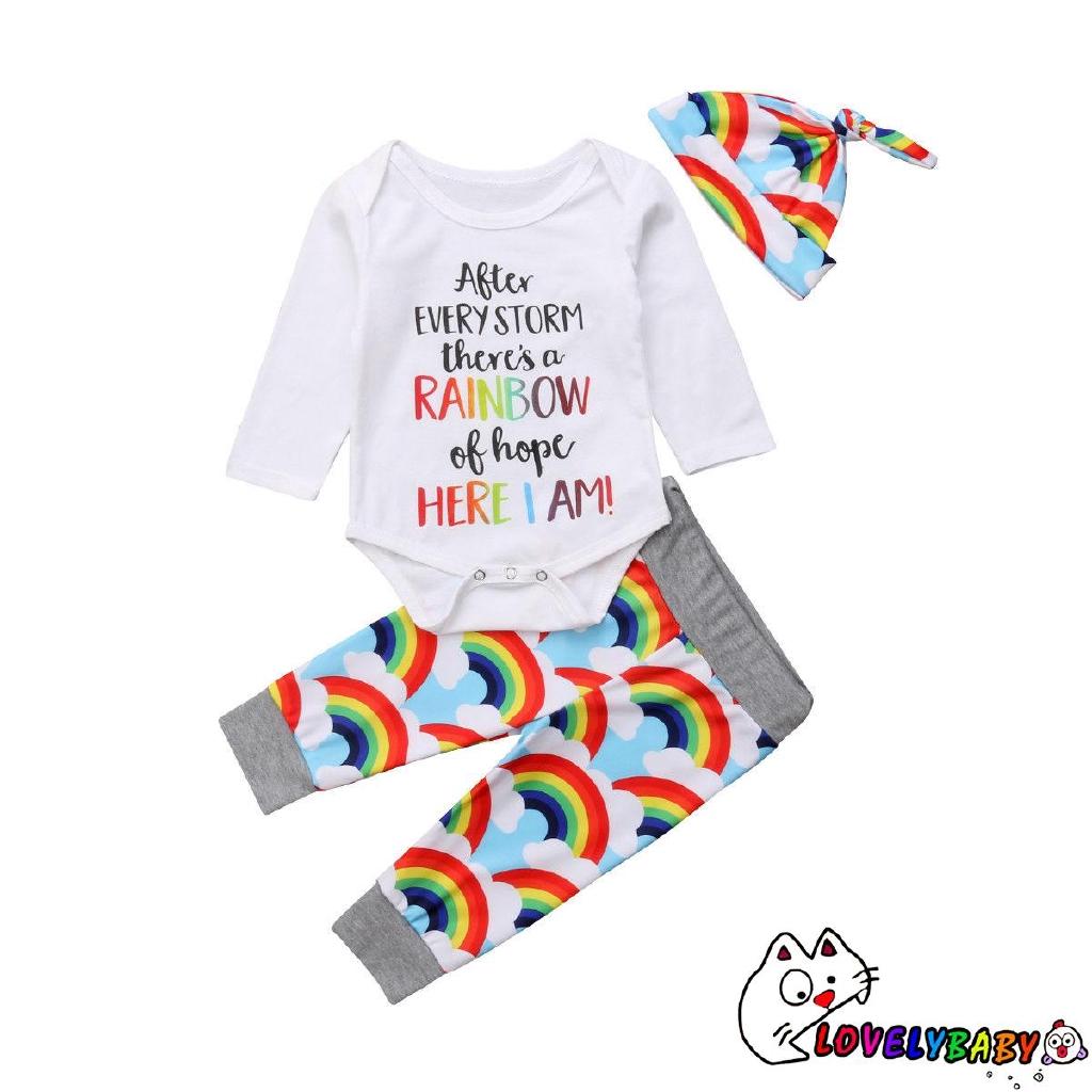 UUN-3Pcs Newborn Baby Girls Rainbow Tops Romper Bodysuit Pants Hat Outfits Clothes