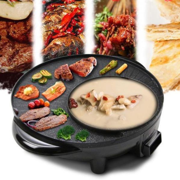 Nồi Lẩu Nướng 2 Ngăn Hàn Quốc - Bếp Nướng Không Khói 2 Trong 1 Tiện Lợi - Mặt Chống Dính Cao Cấp An Toàn