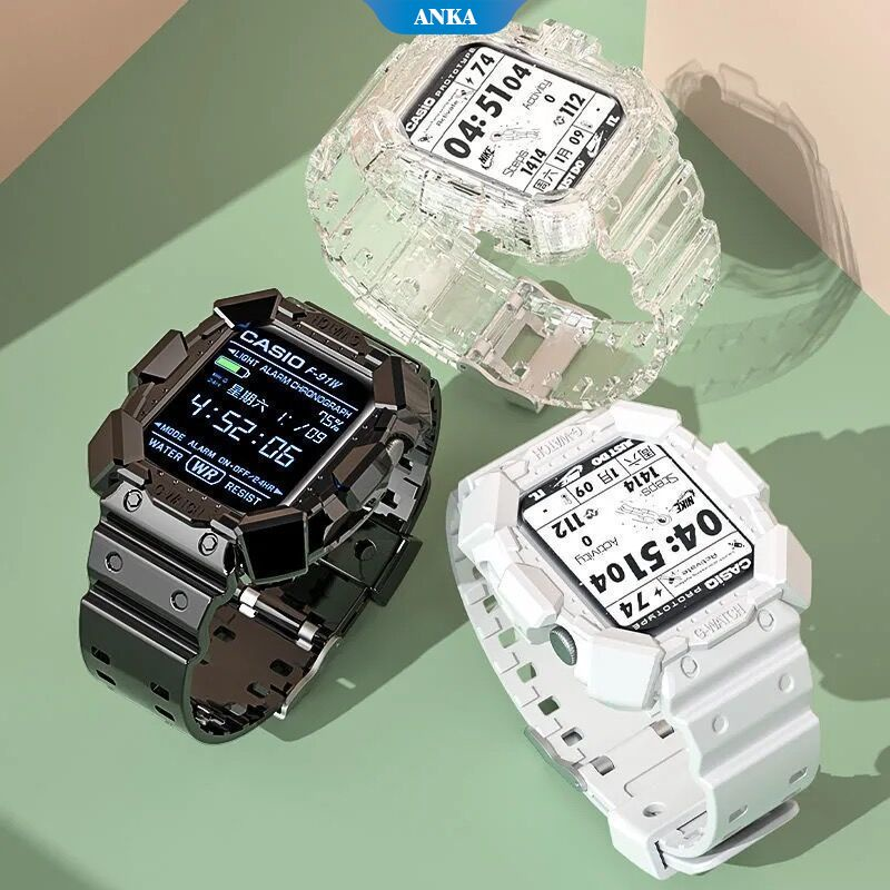 Cool Mech Tough Guy Style Suitable for Apple Iwatch 6/5/4/3/2/1/T500 Electronic Sports One-piece Watch Case Strap Drop and Scratch Resistance