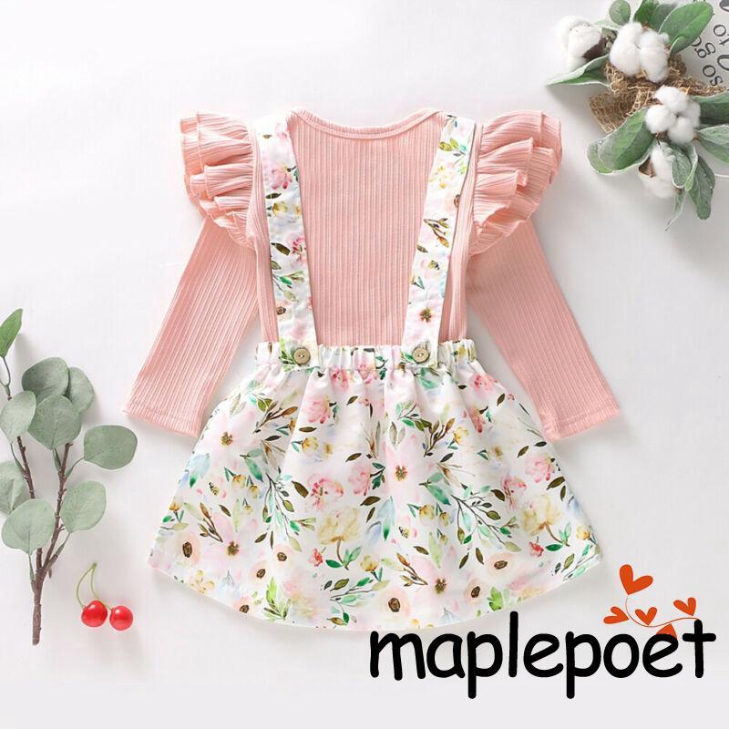 2740081320 - Set áo thun dài tay nhún bèo + chân váy yếm hoa xinh xắn cho bé gái