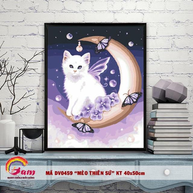 Tranh tự tô màu sơn dầu số hoá trang trí động vật - Mã DV0459 Mèo thiên sứ