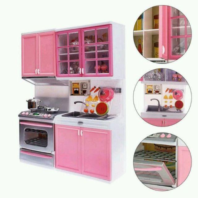 Bộ tủ bếp đôi với đầy đủ phụ kiện nhà bếp có âm thanh và đèn sáng