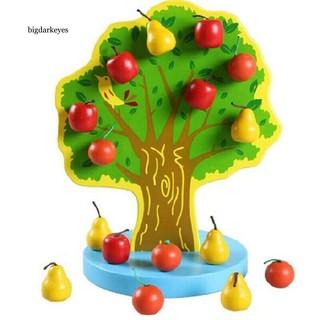 BDK Wooden Magnetic Apple Fruit Tree DIY Building Blocks Kit Kids Educational Toy