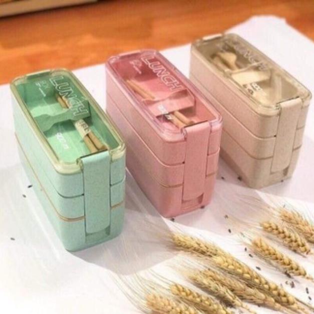 [Free Ship] Hộp cơm 3 tầng lúa mạch hình chữ nhật tặng kèm thìa dĩa lúa mạch