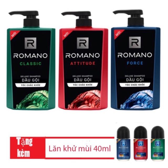 Dầu Gội Romano 650ml tặng sữa tắm 150ml, hoặc lăn khử mùi 40ml
