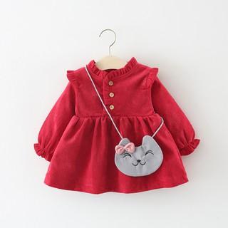 Váy nhung lót nỉ kèm túi xinh cho bé yêu size từ 7kg -16kg - Đầm thu đông bé gái - Váy đầm thu đông cho bé gái