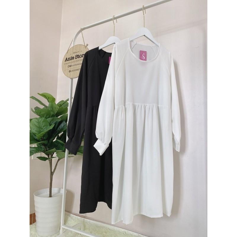 Mặc gì đẹp: Bồng bềnh với Đầm Babydoll Tay Phồng 🦋 Váy Nữ Trơn Dáng Xòe 2 Màu 🦋