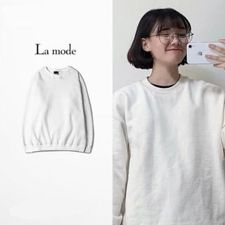 Áo Sweater Nam Nữ Unisex Dài Tay Trơn Basic Form Rộng Nỉ Bông Dày Dặn - La mode thumbnail