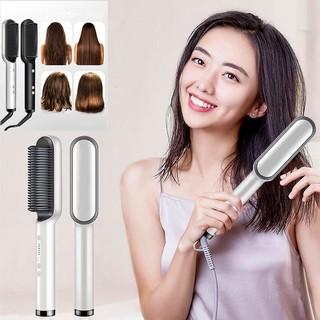 Máy uốn tóc - duỗi, tạo kiểu tóc theo ý thích - Lược điện uốn cụp, duỗi tóc cho nam và nữ - Tặng kẹp uốn mi thumbnail