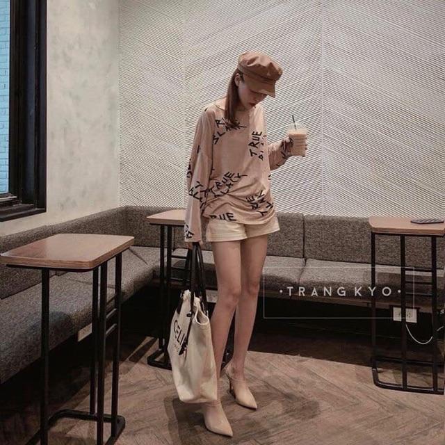 Áo len giấy màu cà phê sữa quảng châu A39