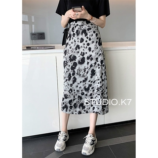Korean women's skirts, summer tie-dye high-waisted A-line skirts, floral-wrapped hip skirts