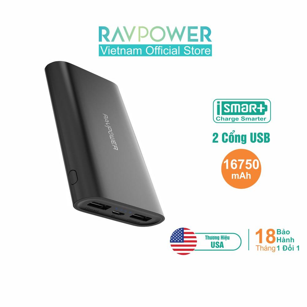 Pin Sạc Dự Phòng RAVPower 16750mAh 22.5W iSmart 2.0 Sạc Đồng Thời 2 Thiết Bị RP-PB010 - Hãng Phân Phối Chính T