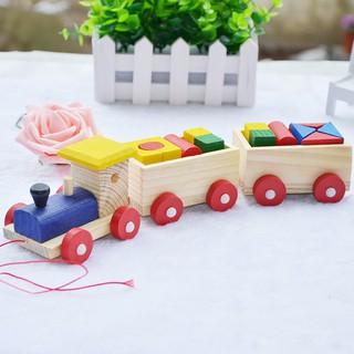 Tàu lửa chở hình khối xây dựng bằng gỗ cho bé_SmartKids