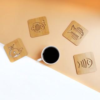 Lót cốc bằng gỗ vân tre siêu đáng yêu nhiều hình - chống nóng thumbnail