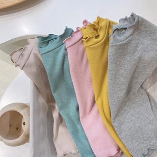 Áo phông trẻ em 2021 Quần áo trẻ em xuân hè mới Áo phông trẻ em vừa và nhỏ màu đồng nhất Kiểm tra bí mật cổ bên áo phông cotton chữ T Hàn Quốc