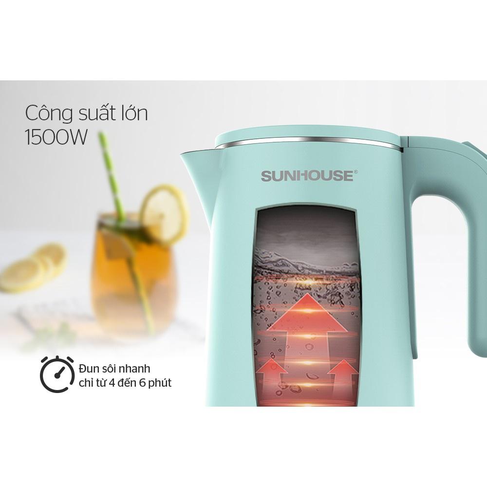 Ấm siêu tốc đun nước inox Sunhouse SHD1351 2 lớp 1,8L giá tốt