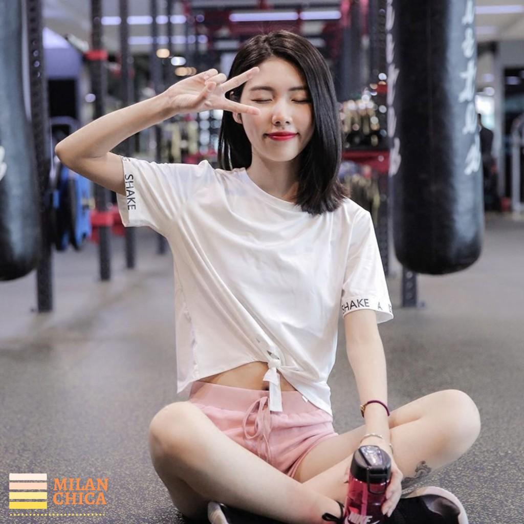 Áo thun phông ngắn thể thao nữ Shake (Đồ tập gym,yoga) Croptop (Không Quần) - Cửa Hàng Việt Nam - Livan Sport