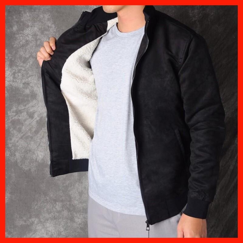 Áo Khoác Nam Da Lộn l Áo Rét Lót Lông Dày Dặn - Mua 1 áo + Tặng 1 áo giữ nhiệt 40k ấm áp