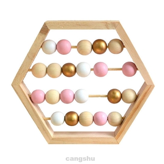 Gift Early Education Home Decor Craft Hexagon Baby Room Kids Toddlers Math Learning Numbers Counting Wooden Abacus Toy
