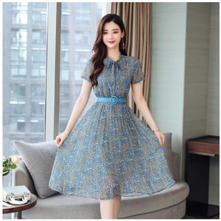 Đầm Voan Hoa Tay Ngắn Dáng Chữ A Thời Trang Mùa Hè Phong Cách Hàn Quốc Cho Nữ