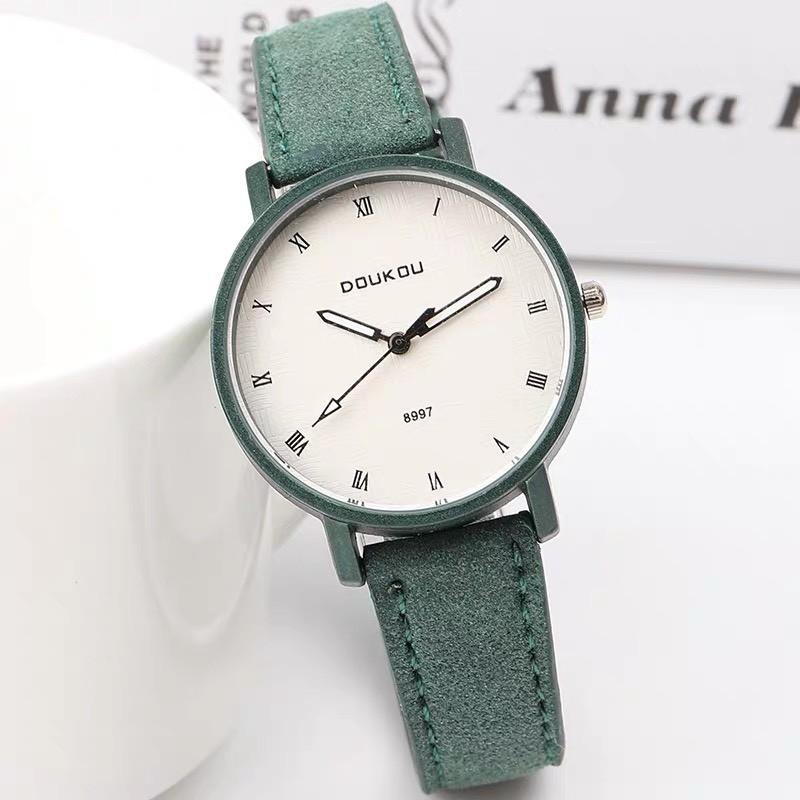 Đồng hồ nữ Doukou chính hãng mặt số La Mã dây da thanh lịch