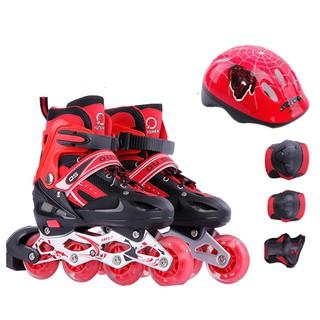 Trọn Bộ Giay trượt patin có đèn phát sáng có nút điều chỉnh size - Tặng kèm đủ bộ bảo hộ