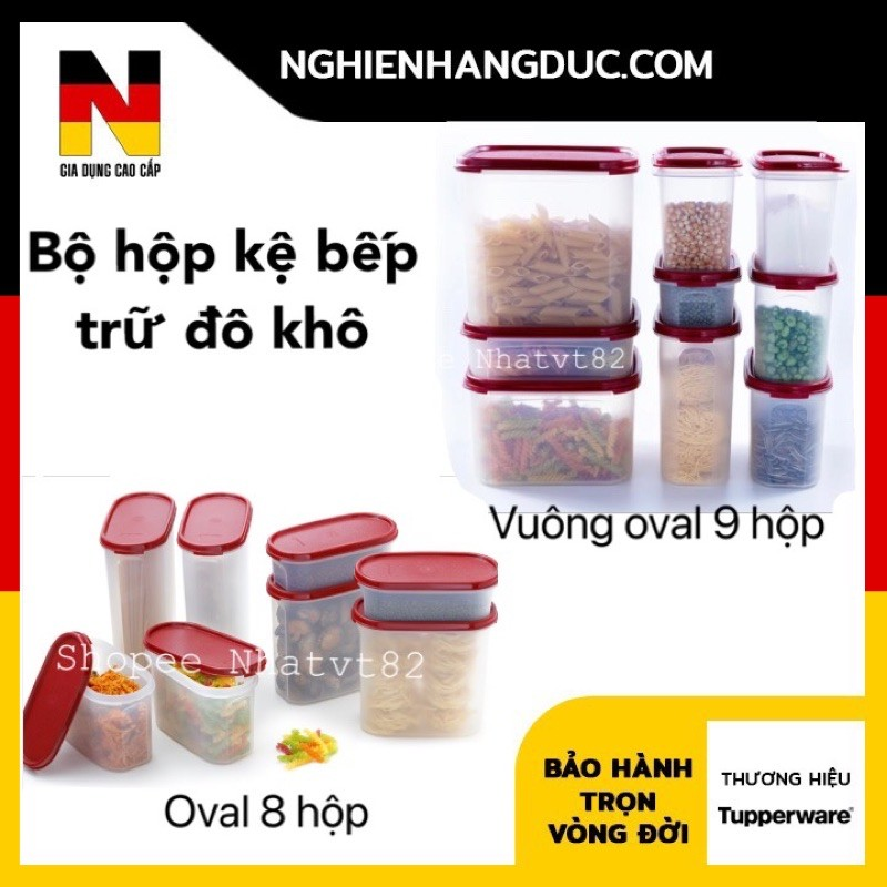 tupperware Bộ kệ bếp hộp trữ đồ khô oval 8 / vuông oval 9