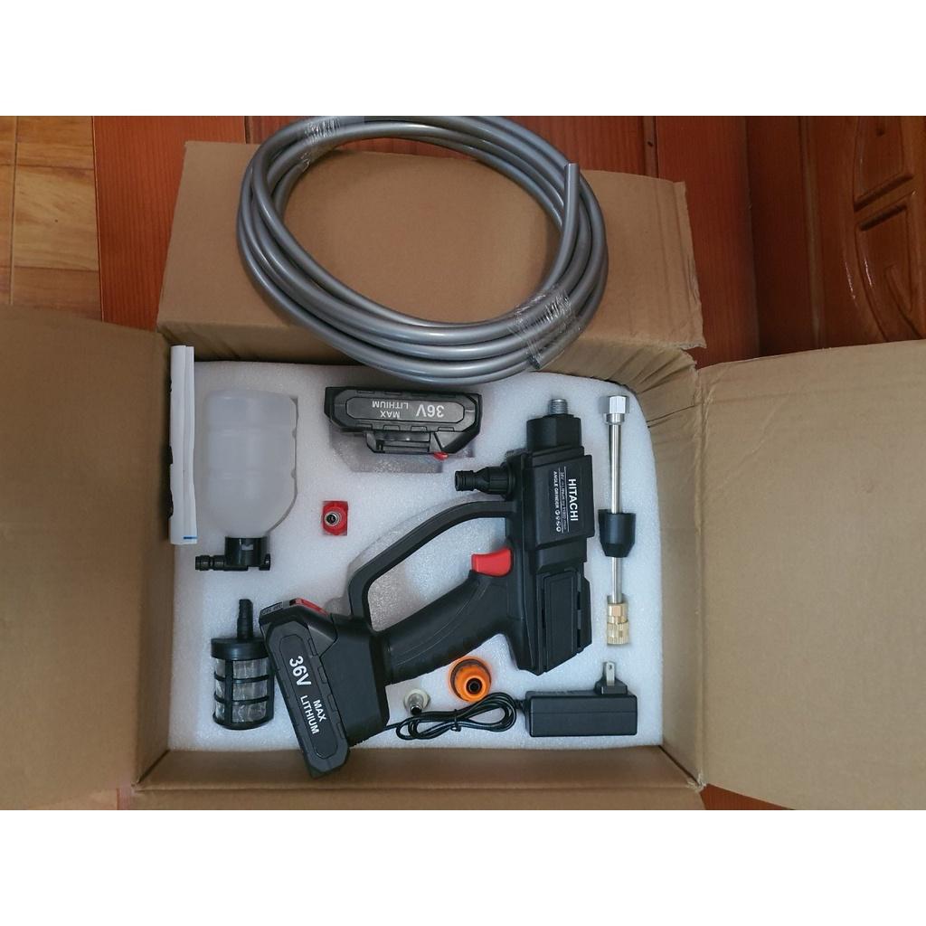 Máy rửa xe gia đình, vệ sinh điều hòa H.I.T.A.C.H.I  áp lực cao, dùng pin 36v, bản 2 pin, máy rửa xe chạy pin
