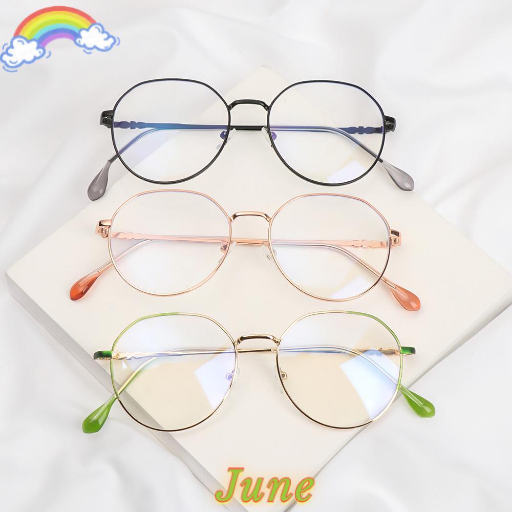JUNE Ultralight Flat Mirror Eyewear High-definition Anti-UV Myopia Glasses Reduces Eye Strain Metal Round Frame Unisex Blue Rays Radiation Eyeglasses/Multicolor