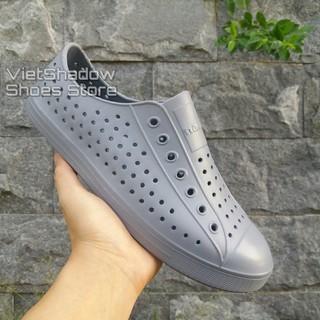 Giày nhựa siêu nhẹ nam nữ - Chất liệu nhựa xốp siêu nhẹ, không thấm nước - Màu xám đậm thumbnail