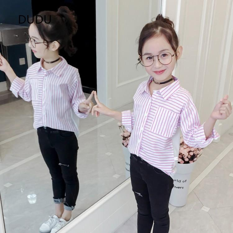 Kids Girls Cotton White Long Sleeve Blouse Cute Lovely Plaid Princess Blouse Holiday Causal Shirts  HOT SALE  casual s