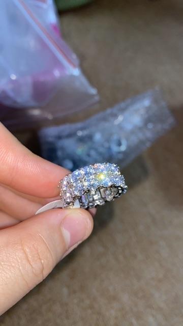 <HÀNG SẴN> NHẪN TENNIS 2 ROW Đá giống kim cương BY MAMA KING Đá giống kim cương