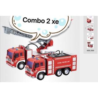 Combo 2 xe cứu hỏa phun nước thật có thể lắp pin phát nhạc