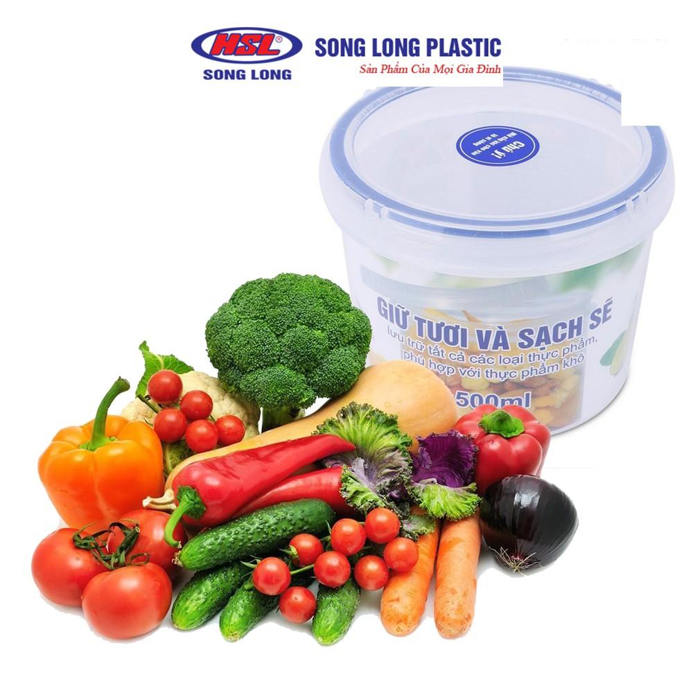 Hộp đựng bảo quản thực phẩm 500ml Song Long/Việt Nhật Plastic Four Lock nhựa tròn - 2512(6536_1)