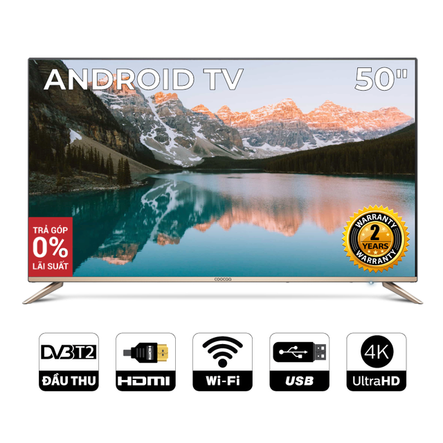 Android SMART TV 4K UHD Coocaa 50 inch Wifi tivi- viền mỏng - Model 50S5G (Vàng)