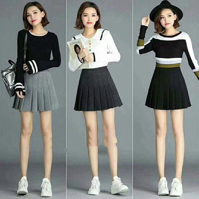Chân váy dạ xếp ly hàng Quảng Châu