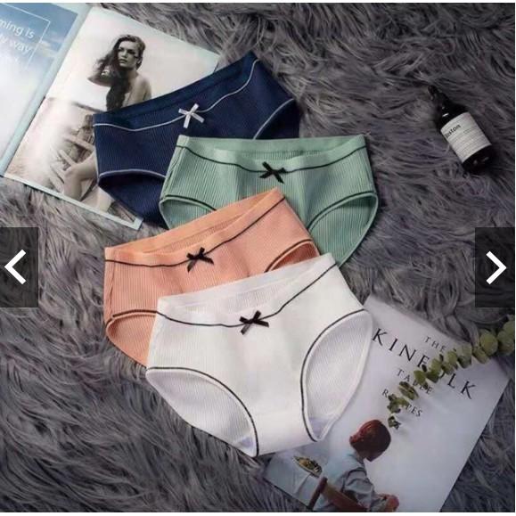 [quần lót cotton] 10 Quần Lót gân tăm  đính nơ, Quần lót Ren,Quần Lót su, Quần Lót Thông Hơi, quần lót đều hòa, quần su | BigBuy360