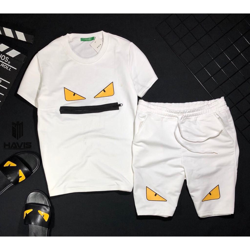 Set bộ quần áo nam Hàn Quốc phối logo cực đẹp