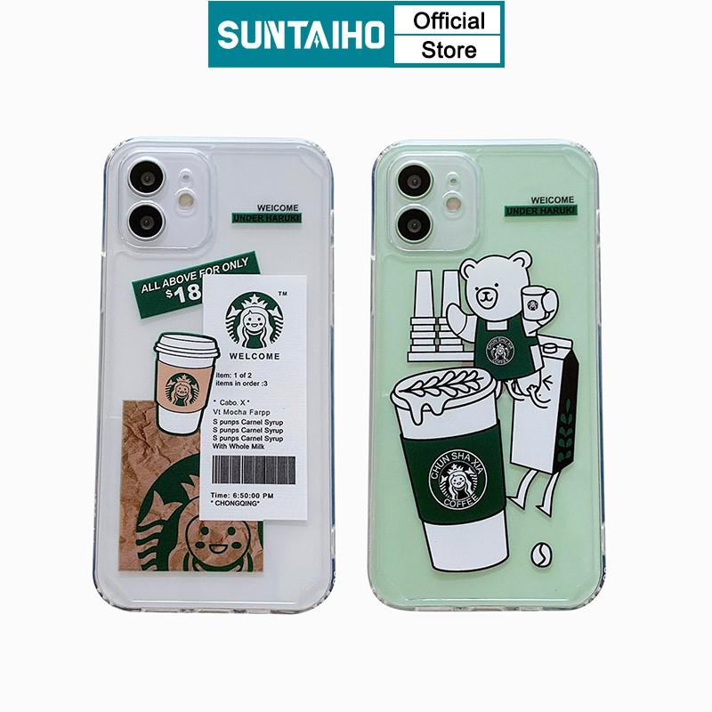Ốp Điện Thoại Suntaiho Cho IPhone 12 mini 11 Pro Max X Xs Max XR 6s 8 7 Plus SE Từ Tpu Mềm In Hình Gấu Và Ly Trà Sữa