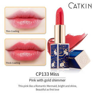 Son thỏi dưỡng ẩm CATKIN, màu hồng pink với ánh vàng lấp lánh, chất son mịn, có dưỡng, nguyên seal, mã CP133