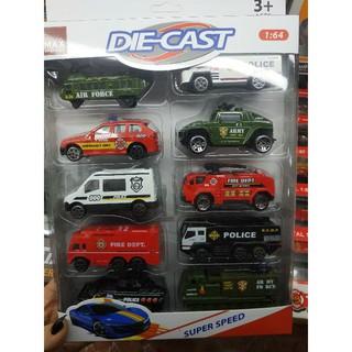 Bộ 10 xe sắt cảnh sát, cứu hoả, quân sự Die-cast No. 625 thumbnail