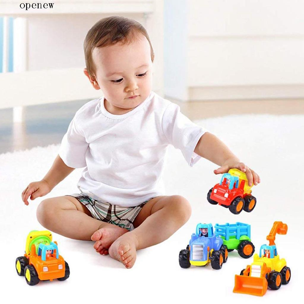 op Cartoon Multicolor Bulldozer Tractor Car Shape Vehicles Toys Kids Gift