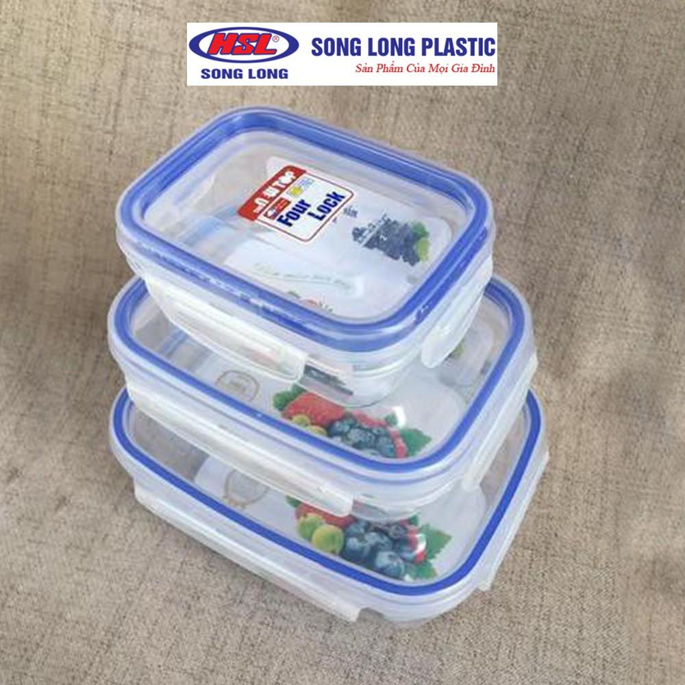 Bộ 3 hộp đựng bảo quản thực phẩm 1900ml, 1000ml, 450ml nhựa Song LongPlastic Four Lock cao cấp - 2508