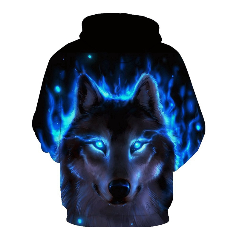 Áo khoác hoodie thời trang có nón đội đầu họa tiết hình sói cho nam và nữ