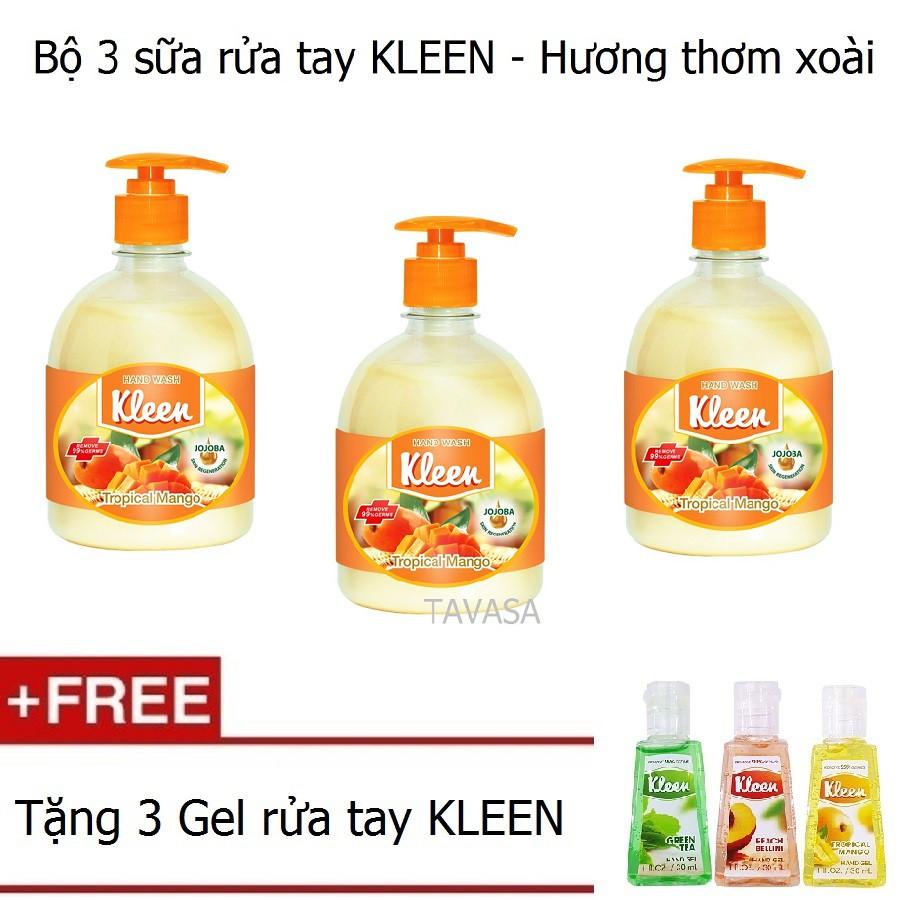 Bộ 3 sữa rửa tay KLEEN (Hương Xoài) + Tặng bộ 3 Gel rửa tay KLEEN (Hương trái cây) - 3244129 , 952690789 , 322_952690789 , 249000 , Bo-3-sua-rua-tay-KLEEN-Huong-Xoai-Tang-bo-3-Gel-rua-tay-KLEEN-Huong-trai-cay-322_952690789 , shopee.vn , Bộ 3 sữa rửa tay KLEEN (Hương Xoài) + Tặng bộ 3 Gel rửa tay KLEEN (Hương trái cây)