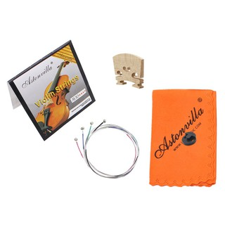 Violin Replace Tool 4 in 1 Strings/Rubber Mute/Maple 4/4 Bridge/Cleaning Cloth