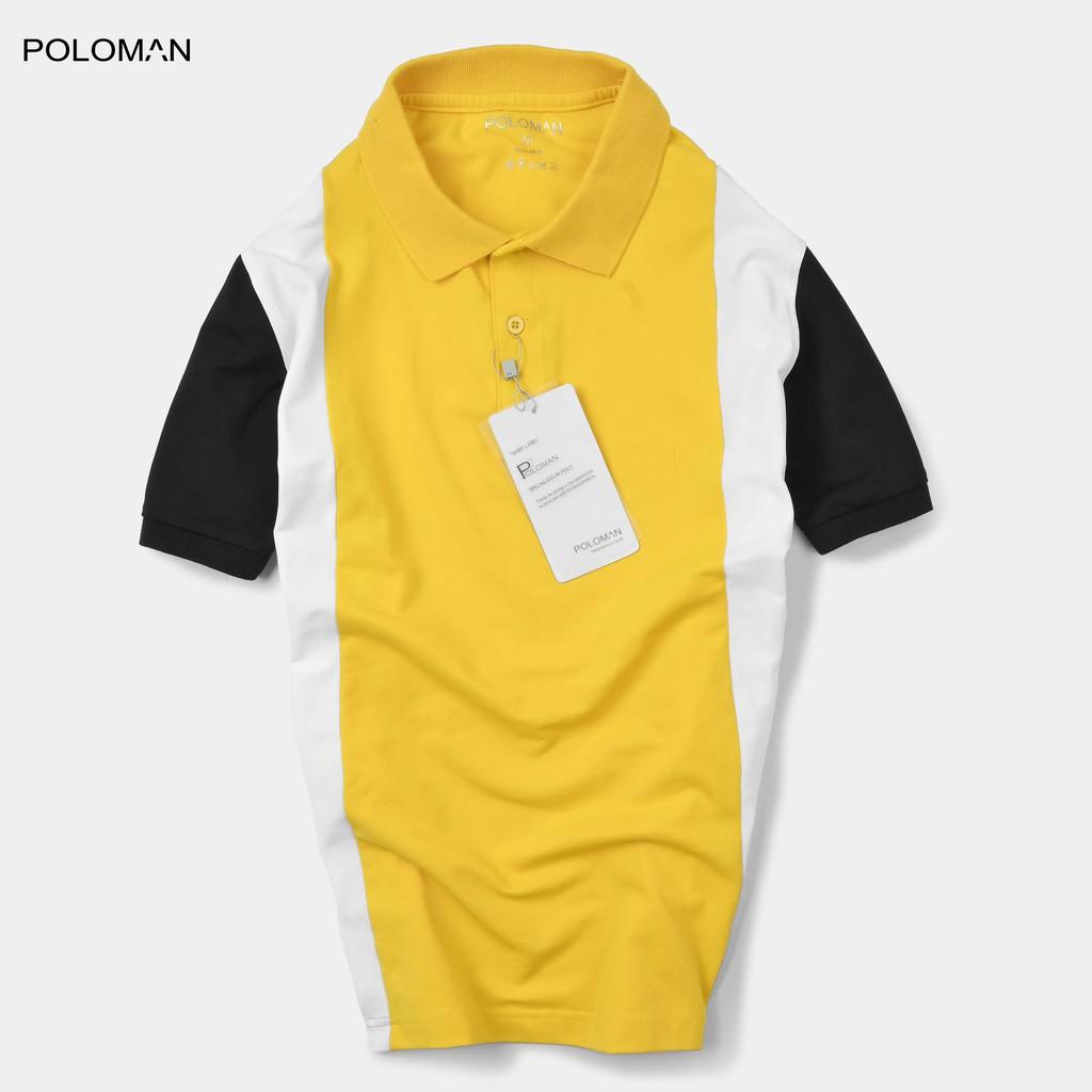 Áo Polo nam phối sọc Golen vải cá sấu Cotton xuất xịn,chuẩn đẹp màu Vàng P03 - PO