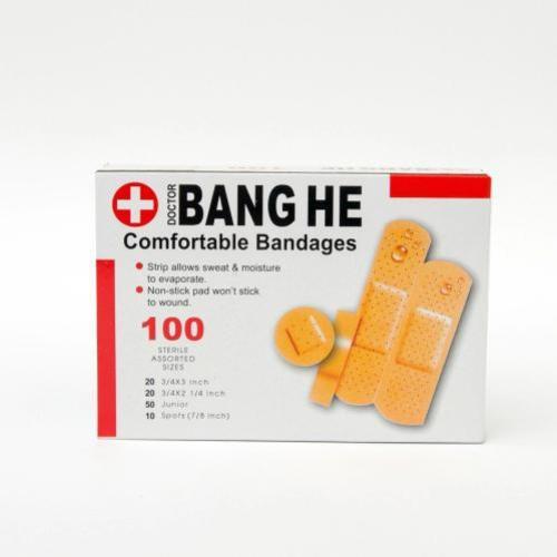 Băng keo cá nhân - băng gạc y tế giúp bảo vệ các vết thương nhỏ, vết trầy xước, rách da hộp 100 miếng Bang He