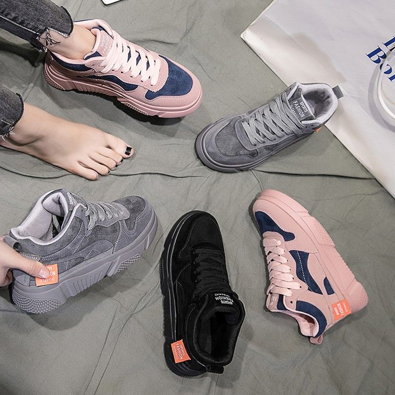 ❇▪Single shoes harbor wind High sneakers female students 2019 new Korean version hundred Mesh Red Spring women's
