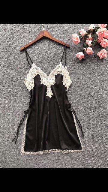 [ SZ M,L,XL 44-67kg ] váy ngủ lụa ren xẻ hông đính nơ vn145